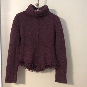 Cranberry Banana Republic fringe sweater
